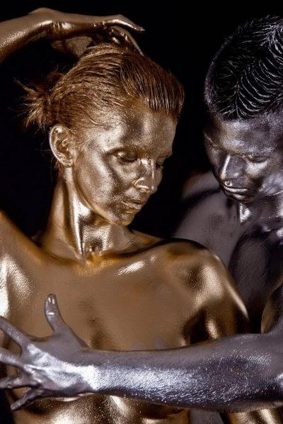 Paar Gold silber